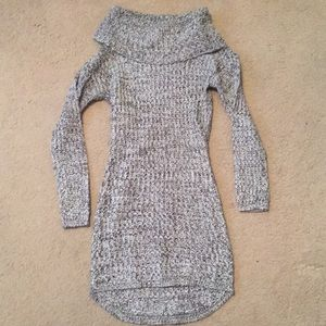 Adorable gray knit sweater dress.